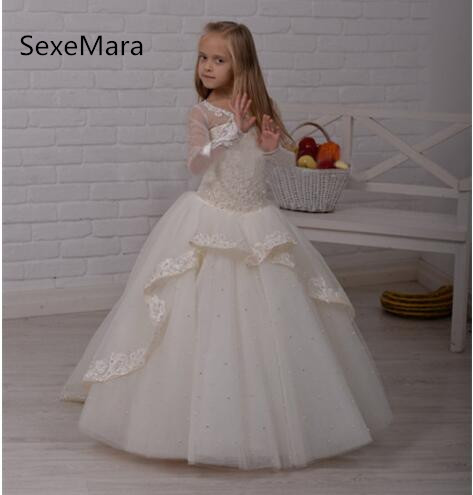 Ivory New Long Sleeve   Flower     Girl     Dress   for Wedding Lace Pearls Beading Ball Gown   Girls   First Communion   Dress   Custom Made Size
