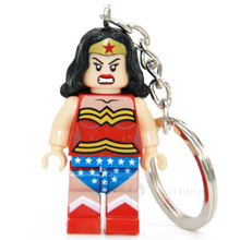 Wonder Woman Super Hero Keyring Minifigures Keychain Custom Ring Keychains Handmade Key Chain Building Blocks Toy