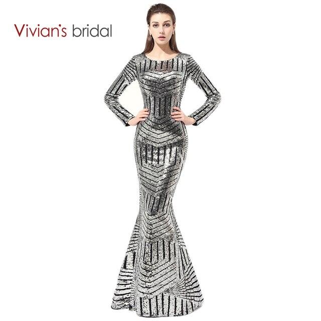 f24e35425 Vivian de Noche Formal de Los Vestidos de Novia de Manga Larga Vestidos de  Lentejuelas Sirena
