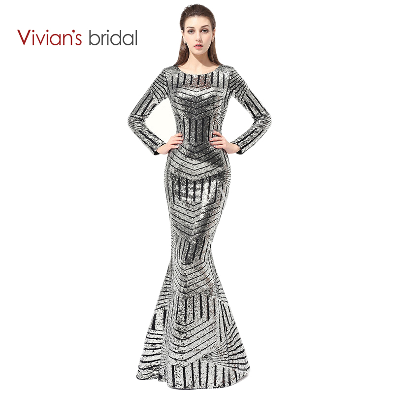 Vivian's Bridal Long Sleeve Formal Evening Gowns Dresses Sequin Mermaid Evening Dress Prom Dress See Through Back ED280