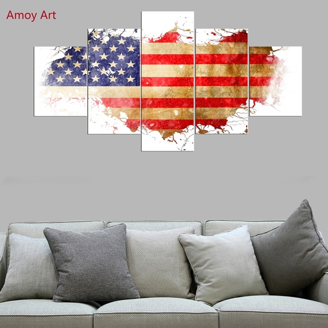 5 Panels American Flag Wall Pictures For Living Room Photo On Canvas Prints Wall  Art Home