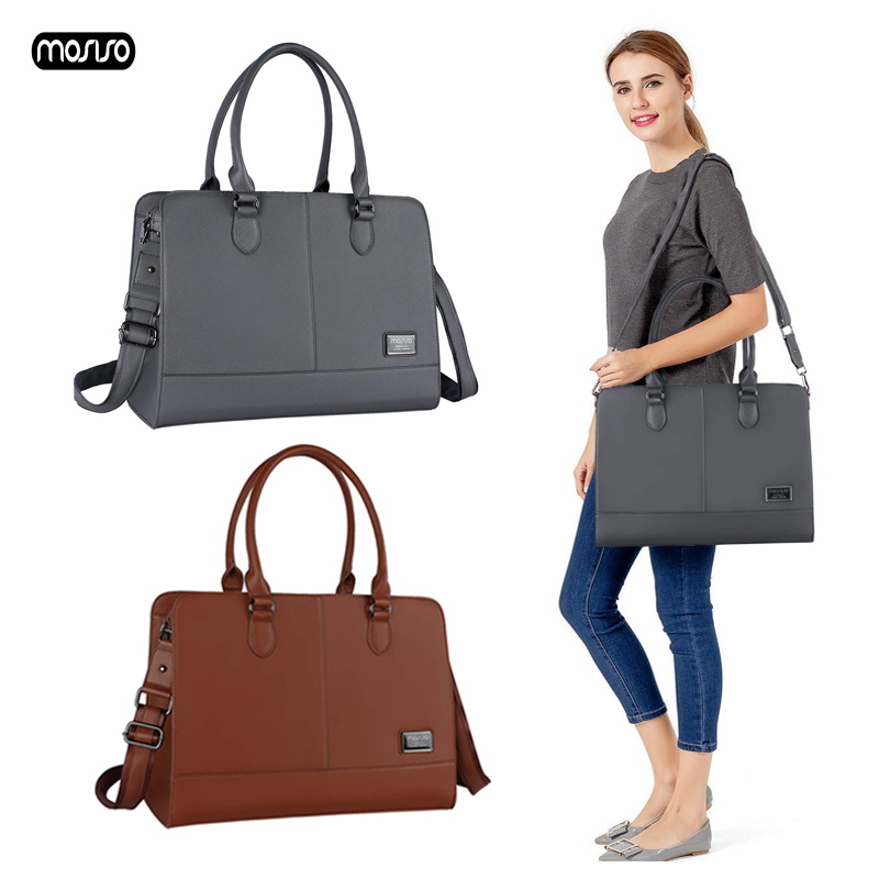 MOSISO PU Leather Laptop Bags Briefcase For Women 14 15 15.6 Inch For Macbook HP Dell Acer Lenovo Notebook Bag Shoulder Handbag
