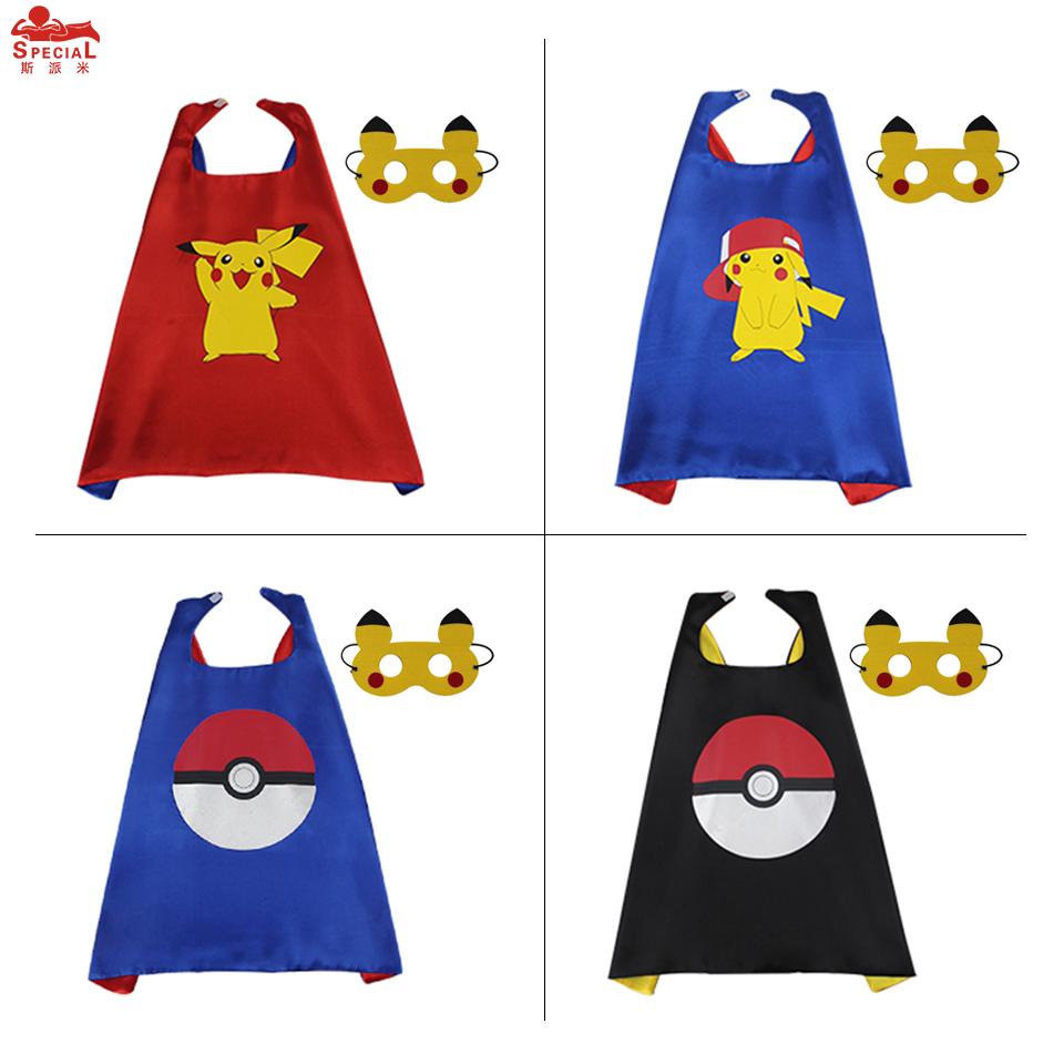 70*70 cm SPECIAL Pikachu Costume Cape Mask For Child Party Cartoon Cape Kids Party Toys Costume Anime Cosplay Kids Fancy Dress
