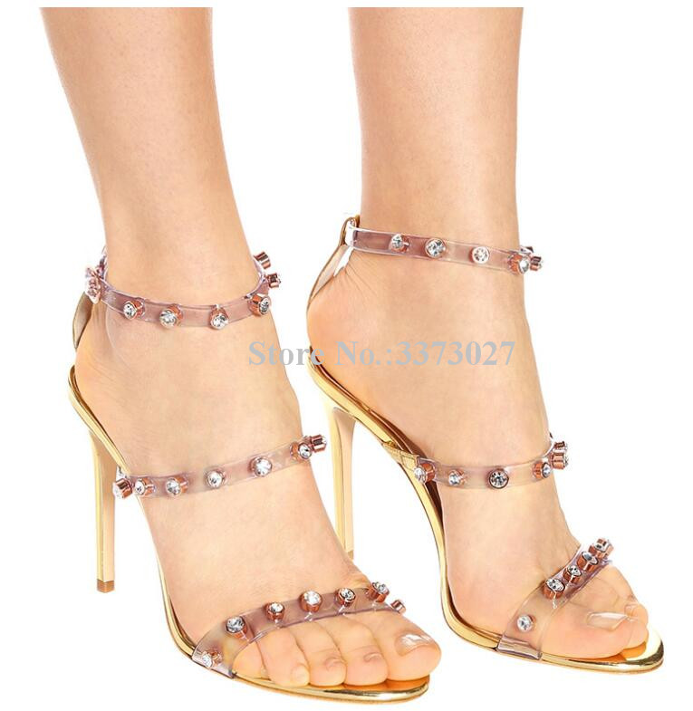 Sexy Transparent PVC Crystal High Heel Sandals Ladies Buckle Gold Thin Heel Dress Sandals Fashion Gladiator Party Shoes Pumps