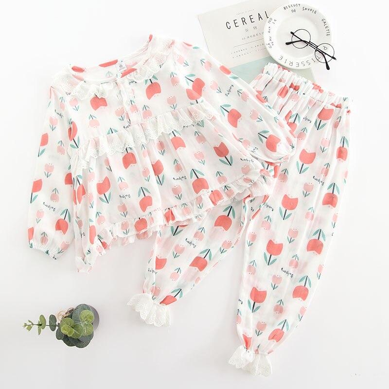 2018 Neue Stil Kinder Nachtwäsche Anzug Herbst Baumwolle Kinder Pyjamas Tulpe Druck Baby Mädchen Pyjamas Bequem Infant Pyjamas