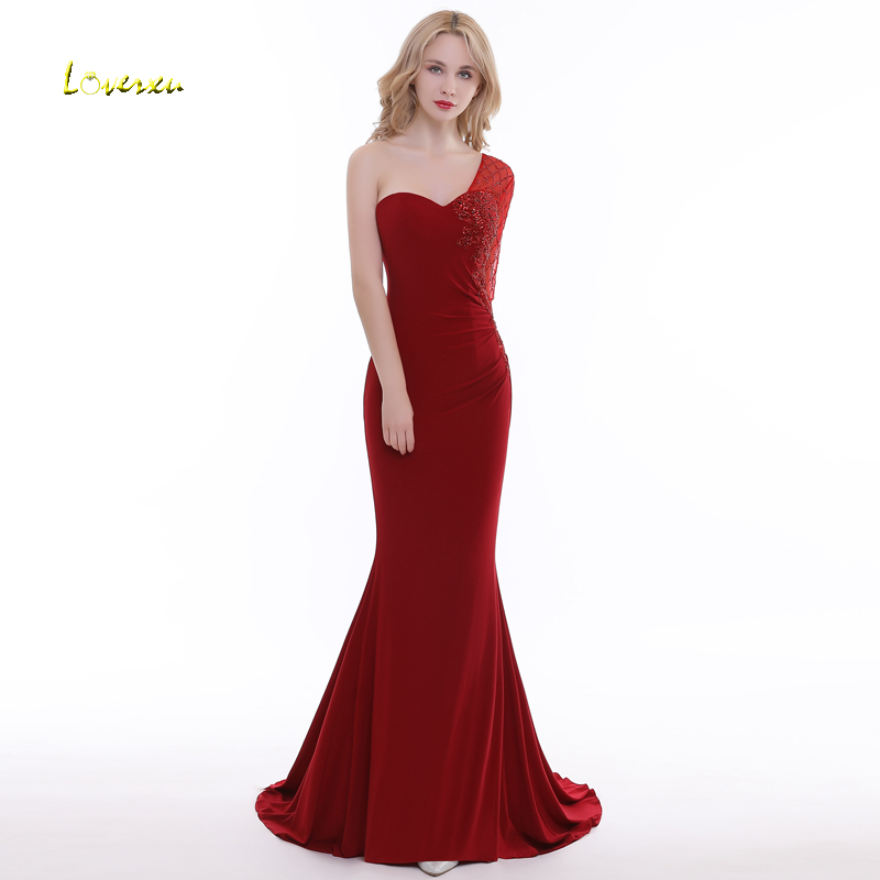 Loverxu Luxury Beaded Long Sleeve Mermaid   Evening     Dresses   2019 Sexy One-Shoulder Backless Party Gown Vestido de Festa Plus Size
