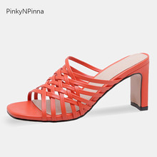 women summer fashion high heels slippers thin cross tied open toe Bohemian style pure orange color dress mules shoes slides цена 2017