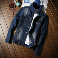 2018 New Blue Men's Denim Jackets Large Size S M L 5XL Fashion Teen Slim Casual Men Long sleeved Coats Pocket Button Decoration