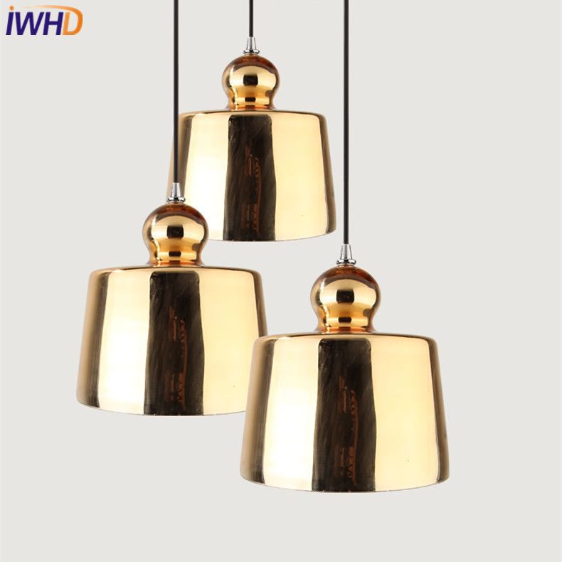 IWHD Plated Golden Glass Pendant Lamp Modern Nordic LED Pendant Light Fixtures For Home Lighting Simple Droplight Loft Hanglamp iwhd vintage industrial loft led pendant lights nordic retro pendant lamp rh wooden e27 3 droplight fixtures for home lighting