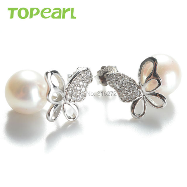 Topearl Jewelry Lovely Butterfly White Pearls Earrings 925 Sterling Silver Studs SE293