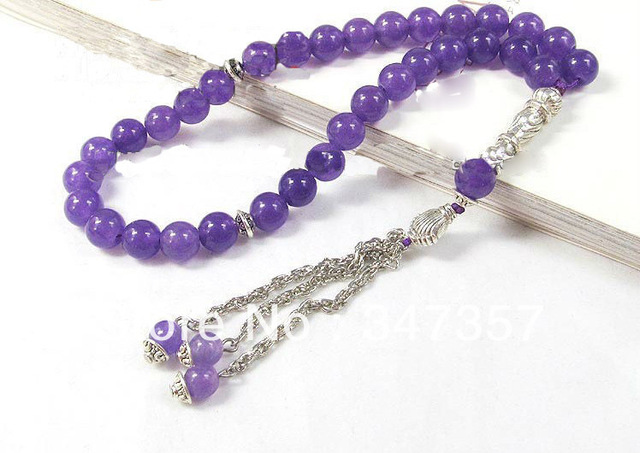 Natural 33 Amethyst  Prayer Beads Bracelet Worry Beads For Pray and Meditation Islamic Muslim Tasbih Allah  free shipping