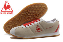 Le Coq Sportif Men's Running Shoes,High Quality Embroidery Logo Le Coq Sportif Men's Athletic Shoes Sneakers Lt.Grey/Red Color 2