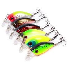 6PC PRO BEROS Fishing Lure 0.12oz-3.5g/4.5cm-1.77″ Crank Bass Bait 8# Treble Hook Fishing Tackle  6 colors Crankbait