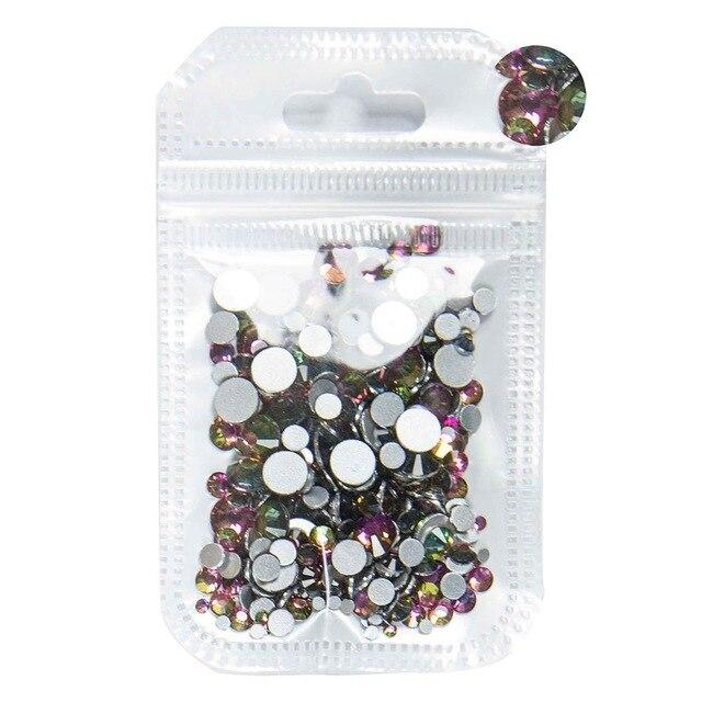 350 шт, 5 грамм, смешанные размеры, ss3-ss30, синий/зеленый/розовый/белый опал, 3D хрустальные стразы для дизайна ногтей, плоские с оборота стеклянные украшения для ногтей - Цвет: Rainbow