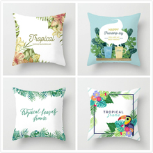 Fuwatacchi Rainforest Leaves Flower Pillow Cover Tropical Style Flamingo Print Cushion for Chair Home Decor Pillows Case