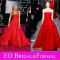 Jennifer Aniston Dress at 2013 premios Oscar Red Carpet una línea de satén Celebrity vestido de noche Formal roja vestido de fiesta