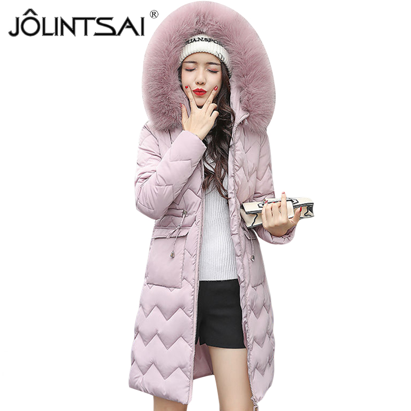 JOLINTSAI Fashion Girls Long Parka Women Large Fur Collar Hooded Jacket Female Warm Winter Coat Women Outwear Cotton Coats