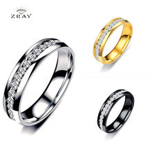 ZRAY Fashion Crystal Rings for Women Gold Silver Black Color Round Lovers' Rings Party Wedding Rings Jewelry Bijoux Gifts(China)