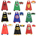 Máscara + capa/1 conjunto superman spiderman crianças capas de super-heróis batman superhero costume ternos para meninos das meninas para a festa roupas Conjuntos