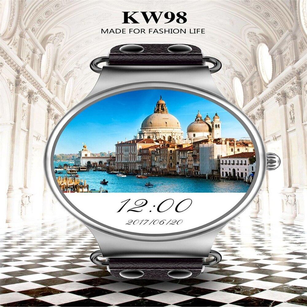 KW98 montre intelligente Android 5.1 3G WIFI GPS montre Smartwatch pour iOS Android PK hommes vie étanche téléphone Support IOS 9.0 téléphone
