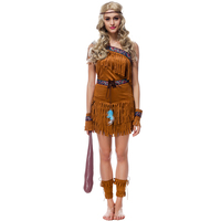 Ilishop Adult Women Halloween Costumes Indians Native Cosplay Uniforms Temptation Fringed Forest Hunter Performance Clothes