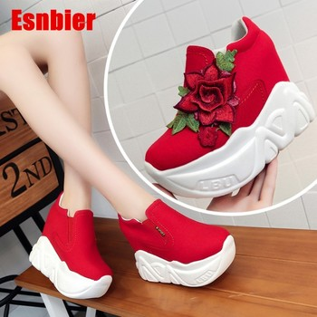 Esnbier 2019 Fashion Flower Women Casual Shoes Platform High Heels Shoes Women Wedges sneakers Heigh Increasing zapatos mujer