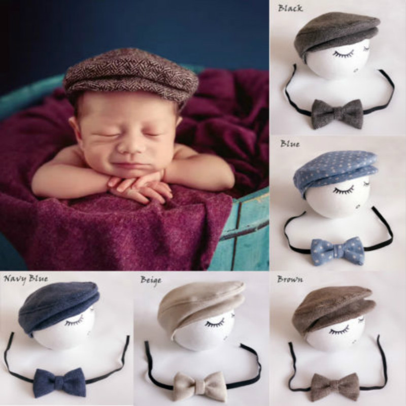Infant Baby Cap Newborn Peaked Beanie Cap+Bow Tie Photo Photography Prop Formal Cap For Baby Outfit Set 0-12M