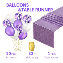 Table Runners with Confetti Balloons and Gold Black Latex for Wedding Party Reception Occasions Home Festival Deco