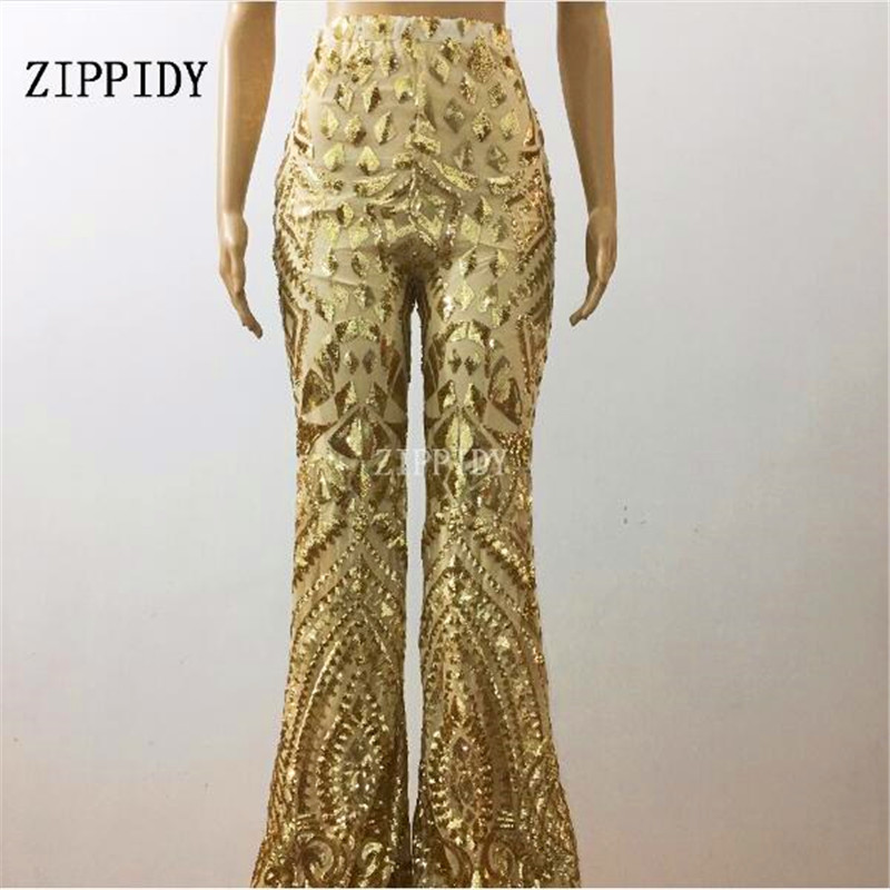 New Style Gold Sequins Pants Birthday Celebrate Toursers Costume Female Singer Bling Design Performance Outfit Stage Dance Wear