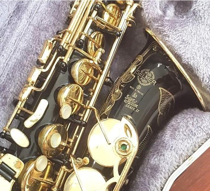 Selmer Super Action 80 Series II Black Nickel Gold Alto Saxophone with Case Accessories E Flat Alto Sax Brass Instruments new 2017 senior french brand conn selmer black lacquer alto saxophone e as 710 matt encarved alto sax with mouthpiece