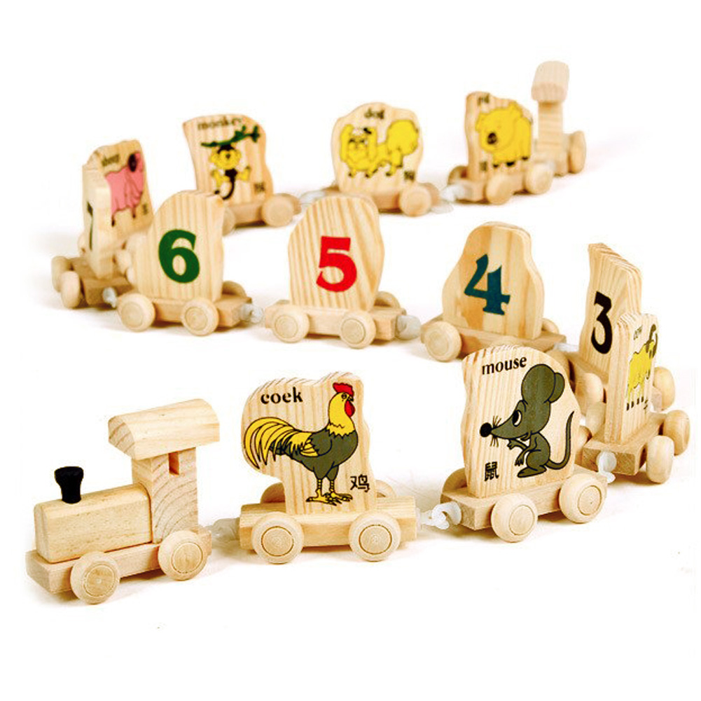 12pcs Wooden Toy Digital Number Animals Train Figures Railway Kids Mini Cognitive Educational Toy Chinese Zodiac Assembles Toy ...