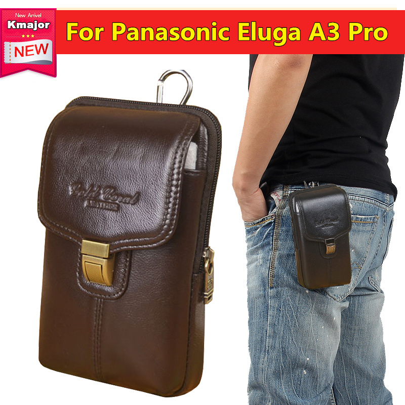 Cell Phone Case Genuine Leather Zipper Pouch Belt Clip Waist Purse Cover for Panasonic El 5.2inch Bag Free Shipping