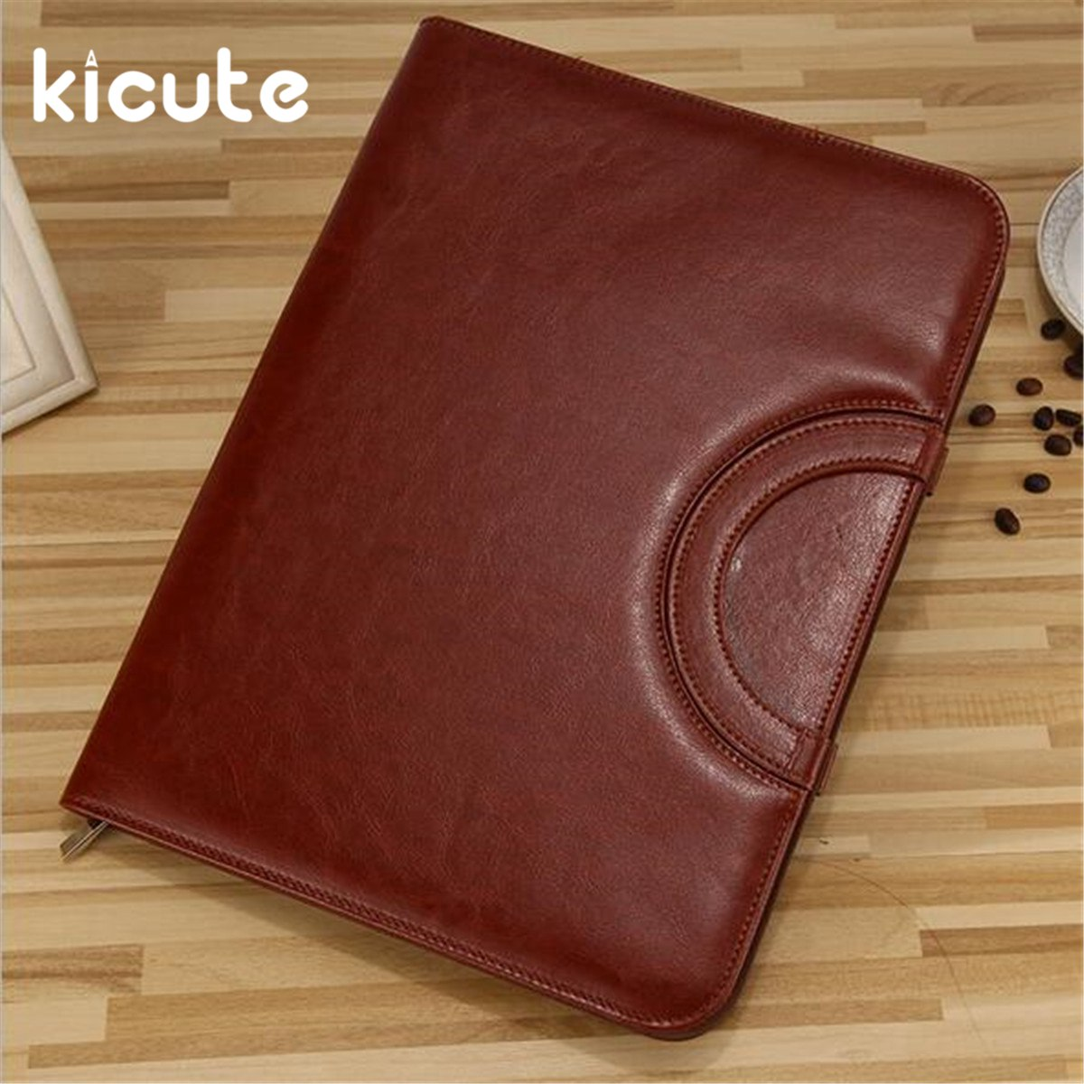 Kicute 1pc Black/Brown A4 PU Leather Zipped Ring Binder Conference Folder Document Bag Business Briefcase Office School Supplies blel hot high quality leather folder a4 briefcase bussiness conference folder black