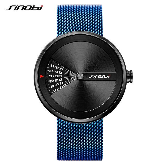 SINOBI Mens Fashion Watches Original Design Creative Wristwatch Stainless Steel Mesh Strap Mens Business Watch Relogio Masculino