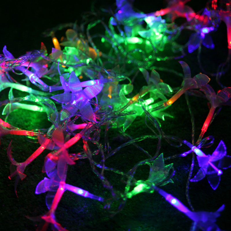 Colorful 33FT/38LED String Light Garden Holiday Light Flower Lily LED String Fairy Light Christmas Wedding Patio Decoration