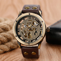 High Quality Skeleton Style Mechanical Wristwatch Roman Numbers Men Sport Stylish Genuine Leather Band Strap Watch