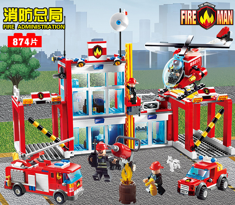 GUDI city Fire Rescue station Administration truck/Helicopter Building Blocks Educational Toys Model Brinquedos Birthday Gift kazi 6726 police station building blocks helicopter boat model bricks toys compatible famous brand brinquedos birthday gift