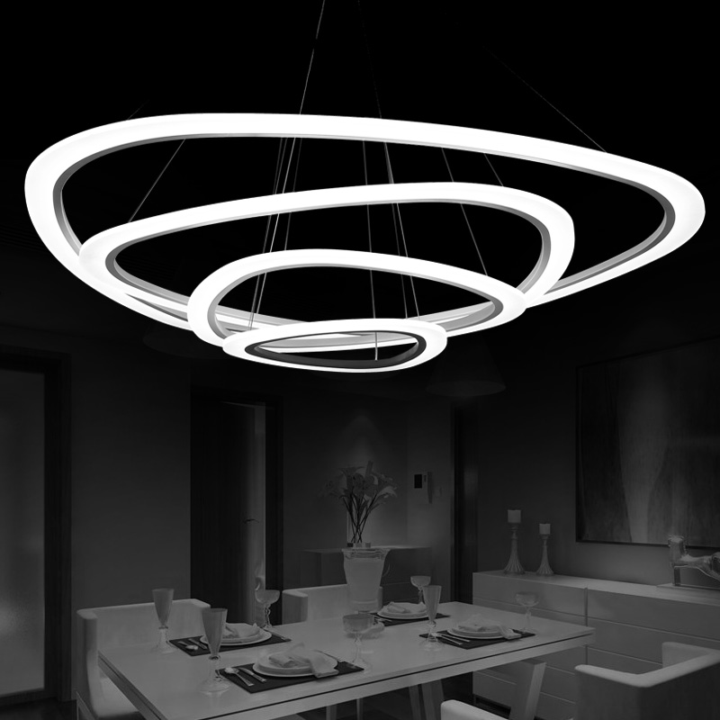 все цены на Ring Acrylic Modern Led Pendant Light For Dining room Living room Kitchen Hanging Lamp White Led Pendant Lamp Lighting Fixtures