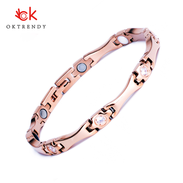 Oktrendy Elegant Stainless Steel Healthcare Magnetic Bracelet with White Rhinestones Friendship Bracelets for Woman