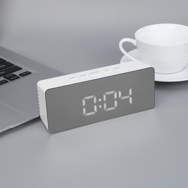 LED Будильник multi Функция цифровые электронные светодиодные зеркало часы Температура Повтор большой Дисплей Домашний Декор зеркало Функция