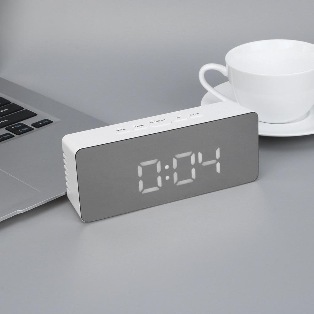Reloj despertador LED digital multifunción electrónica LED espejo RELOJ TEMPERATURA Snooze gran pantalla Decoración para el hogar función espejo
