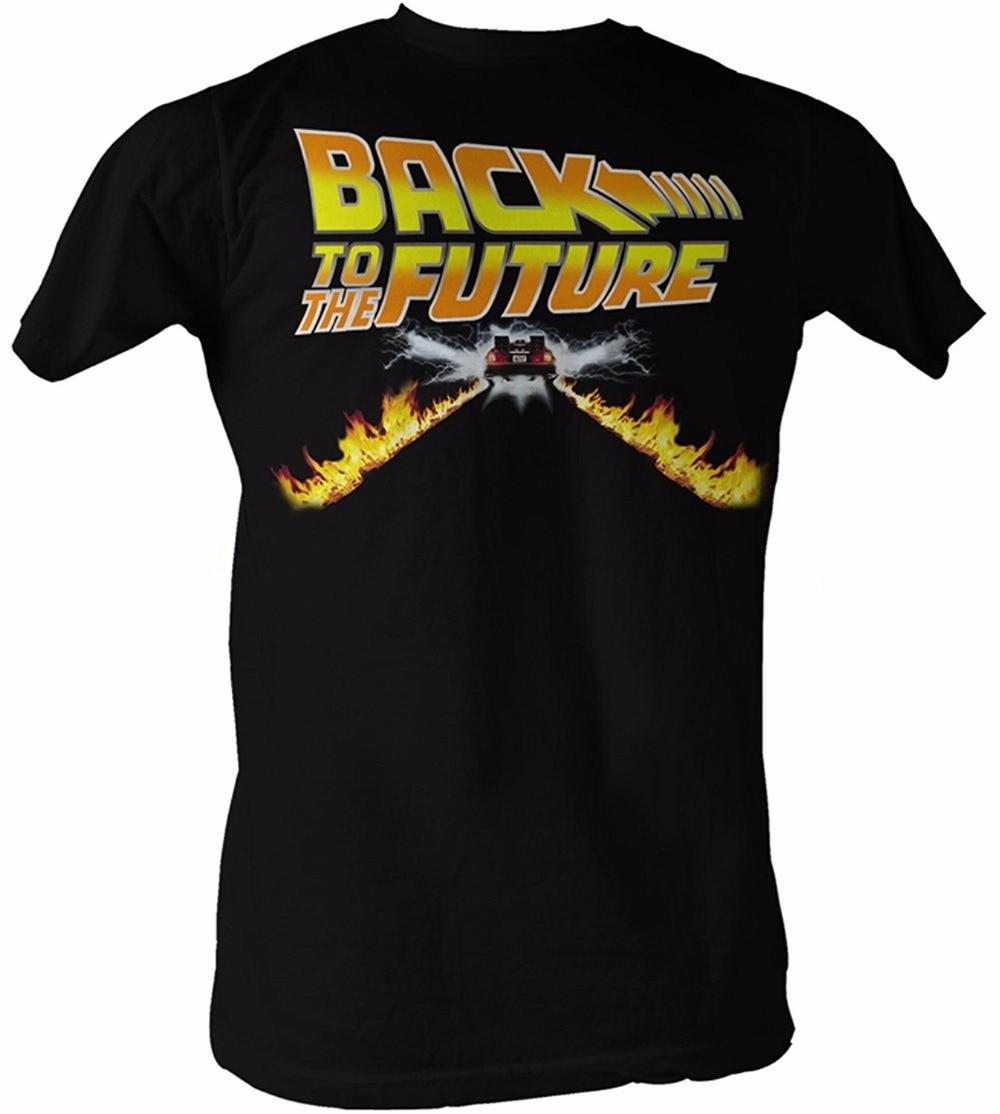 Best Graphic Tees O-Neck Men Back To The Future T-Shirt Delorean Fire Tracks Mens Fashion T-Shirt Cotton Short Sleeve Shirts