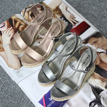 LALA IKAI Summer Espadrilles Wedges Sandals Women Platform Sandals Woman Open Toe High Heel Shoes Sapato Feminino XWF0926-4