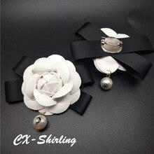 CX-Shirling Mujeres Camelia Broche Broche de Gran Tamaño Vestido de La Vendimia de Lujo A Estrenar de La Perla Colgante grande Broche De Flor Blanca Pin