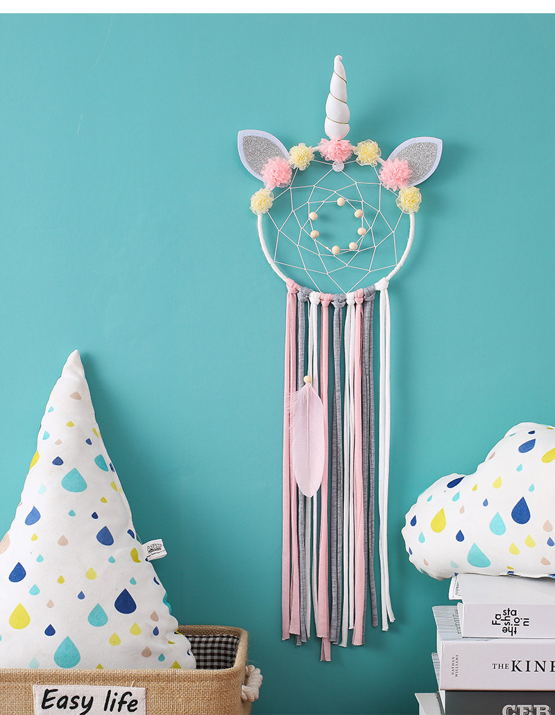 Attrape rêves Licorne pour enfants chambre bébé fille garcon décoration murale intérieur capteur de rêve origine amérindienne