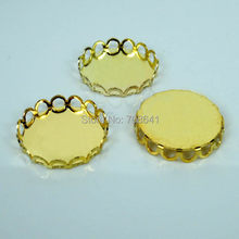 Blank Round Lace Bezel Trays Pad Bases Settings Resin Cabochons Findings for Floating Charm Lockets Making Golden tone Plated(China)