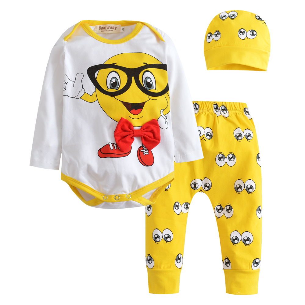 2018 New Autumn Baby Boys Girls Clothing Sets Infant Clothes Suits 3pcs Small Eyes Printing Cotton Long Sleeve Top+Pants+Hat