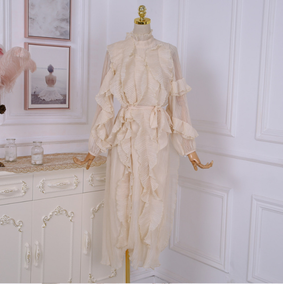 LANMREM 2019 new spring and summer fashion women clothing ruffles collar sweet pleated tassels chiffon puff