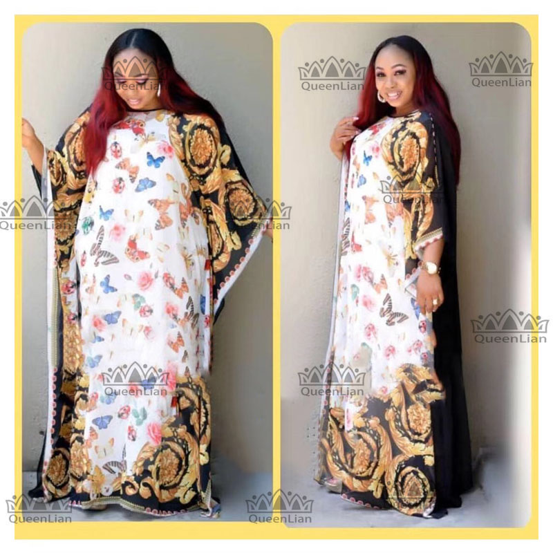 2774071835 L-XXX LNew Fashion The Butterfly Pattern Chiffon Super Size African Loose  Long Dashiki Traditional Party Dress For Lady(XFHD#)