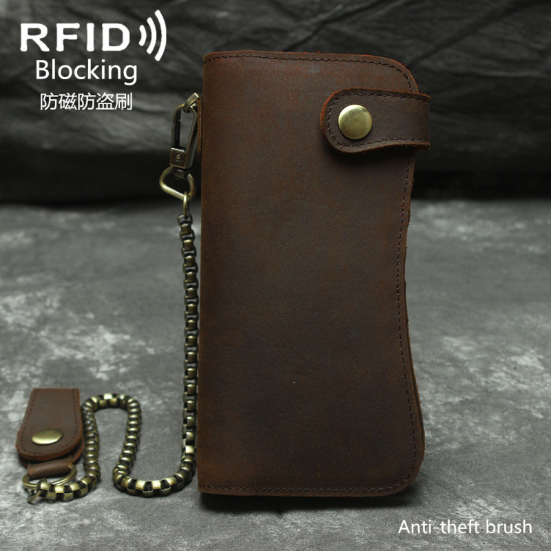 2018 Llaveros Mujer Rfid Mobile Phone Bag Crazy Horse Leather Mens Wallet Real Large Capacity Key Chain Anti-theft Brush Hand